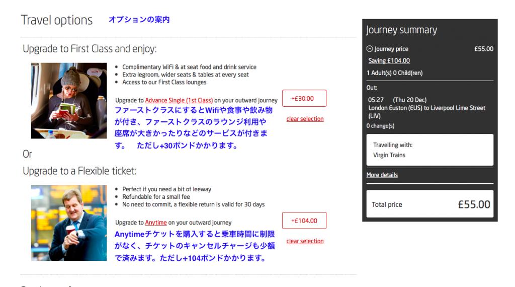 チケットオプション画面