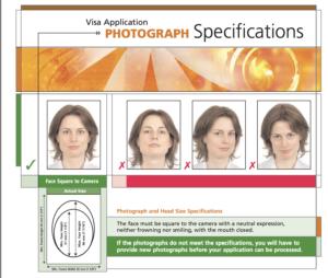 ビザ申請用写真のサンプル