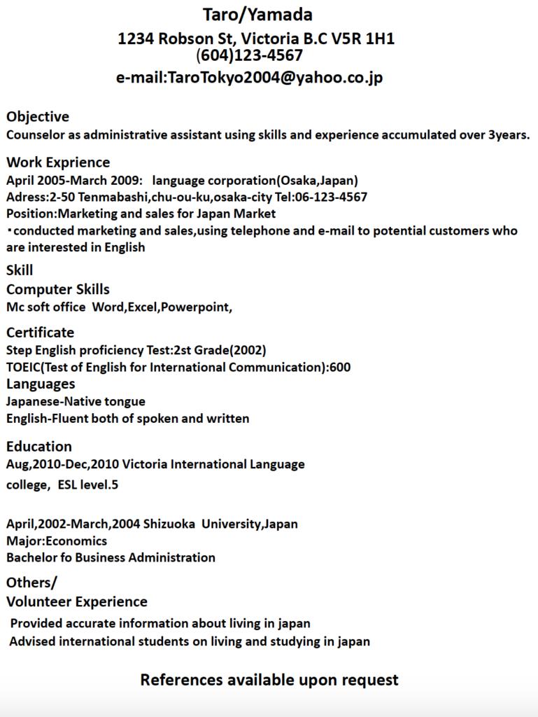 英文履歴書サンプル