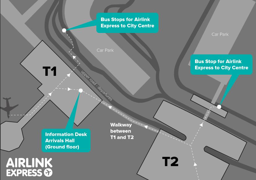 ダブリン空港エアリンク乗り場マップ