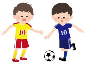 サッカーボールを追いかけている二人