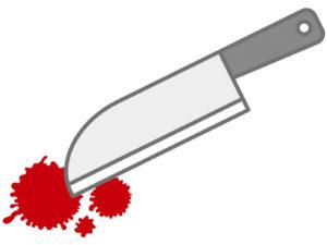 ナイフで刺している