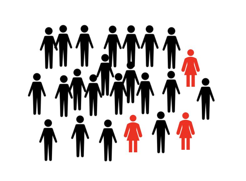 大多数の男性に少数の女性