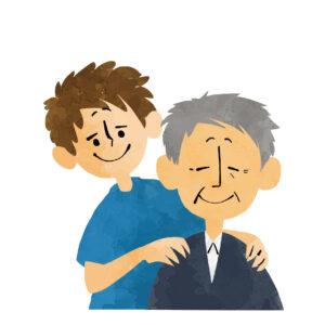 祖父の肩揉みをする孫