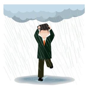 突然の雨に降られる